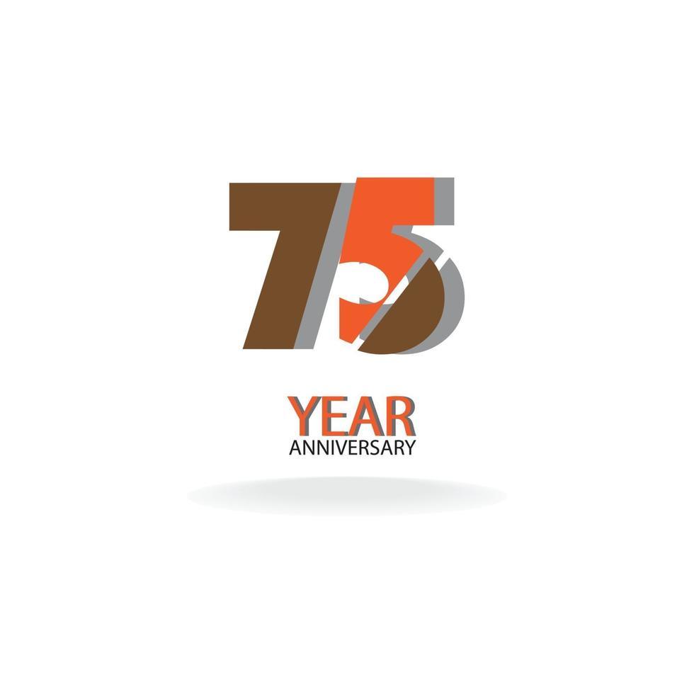 Illustrazione di progettazione del modello di vettore di colore di celebrazione di anniversario di 75 anni