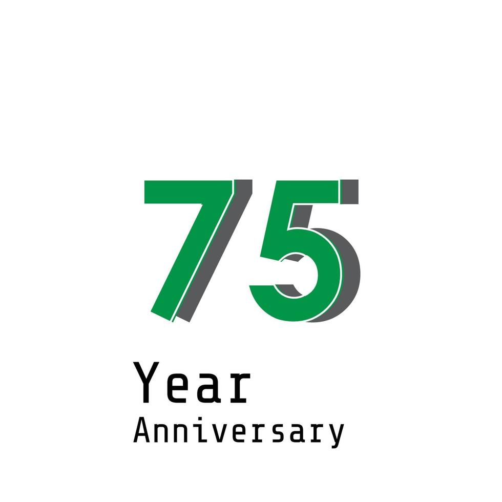 Illustrazione di progettazione del modello di vettore di colore verde di celebrazione di anniversario di 75 anni