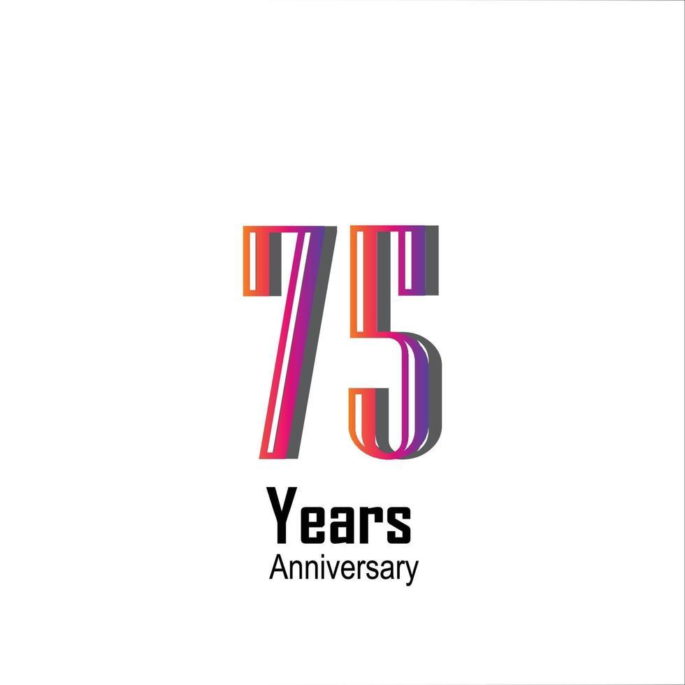 Illustrazione di progettazione del modello di vettore di colore dell'arcobaleno di celebrazione di anniversario di 75 anni