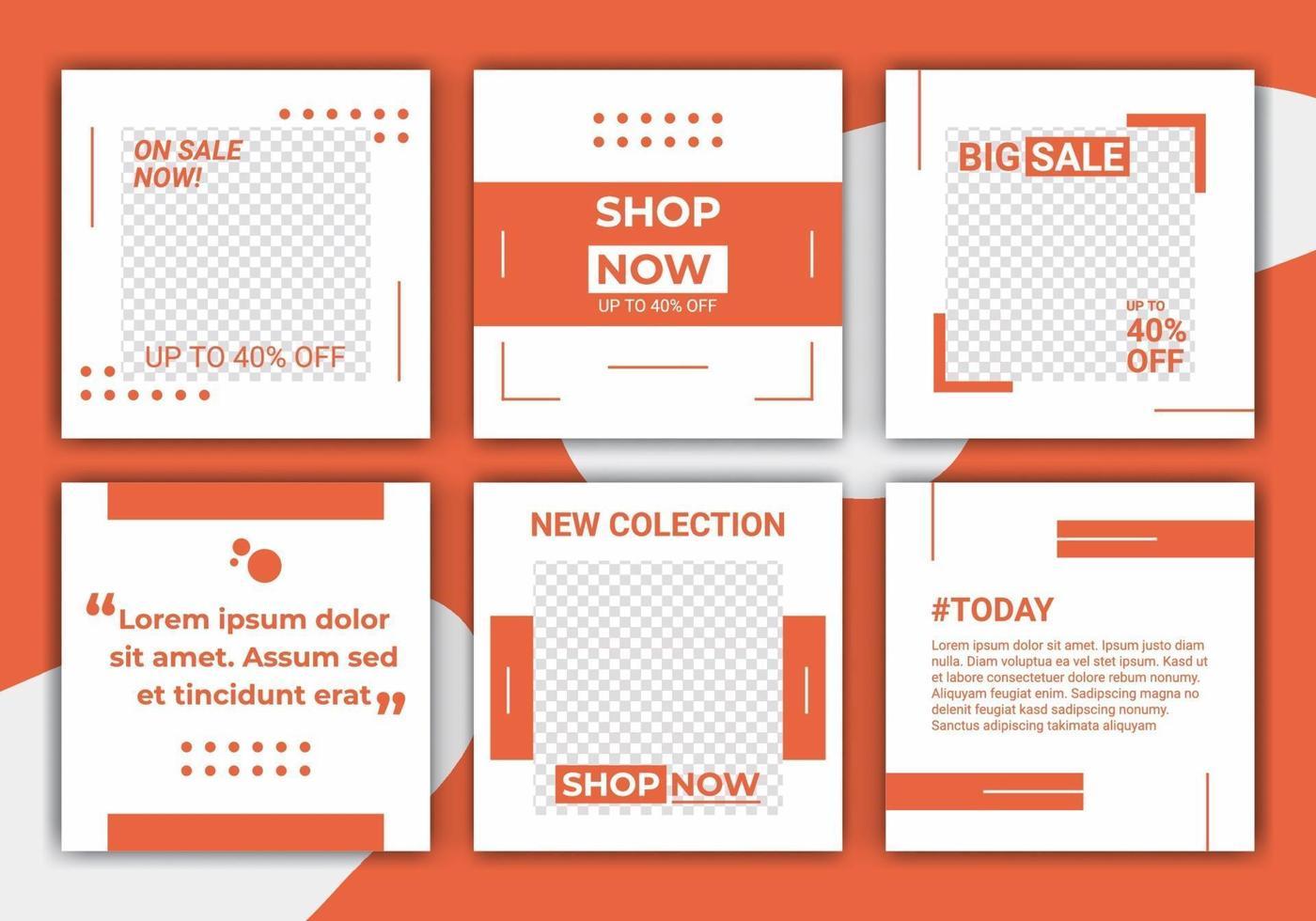 post modello astratto per i social media. moderna post feed, arancione, retrò, modello, cornice in stile minimalista. banner web per design promozionale con colore arancione e bianco. vettore
