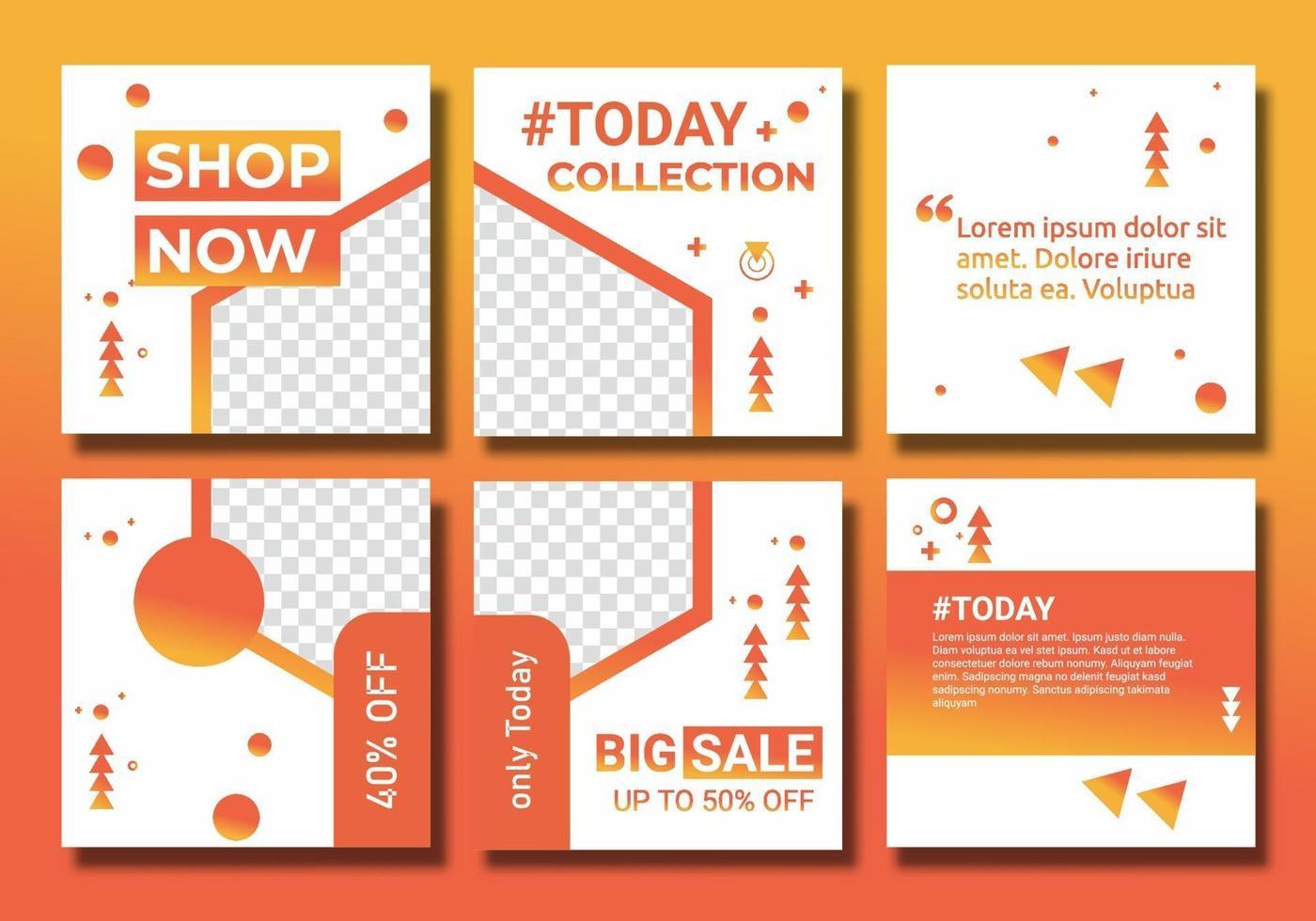 feed e post set vettoriale creativo. banner pubblicitari per il design promozionale con gradiente di colore giallo, arancione. modello di sfondo con copia spazio per la progettazione di immagini per post sui social media