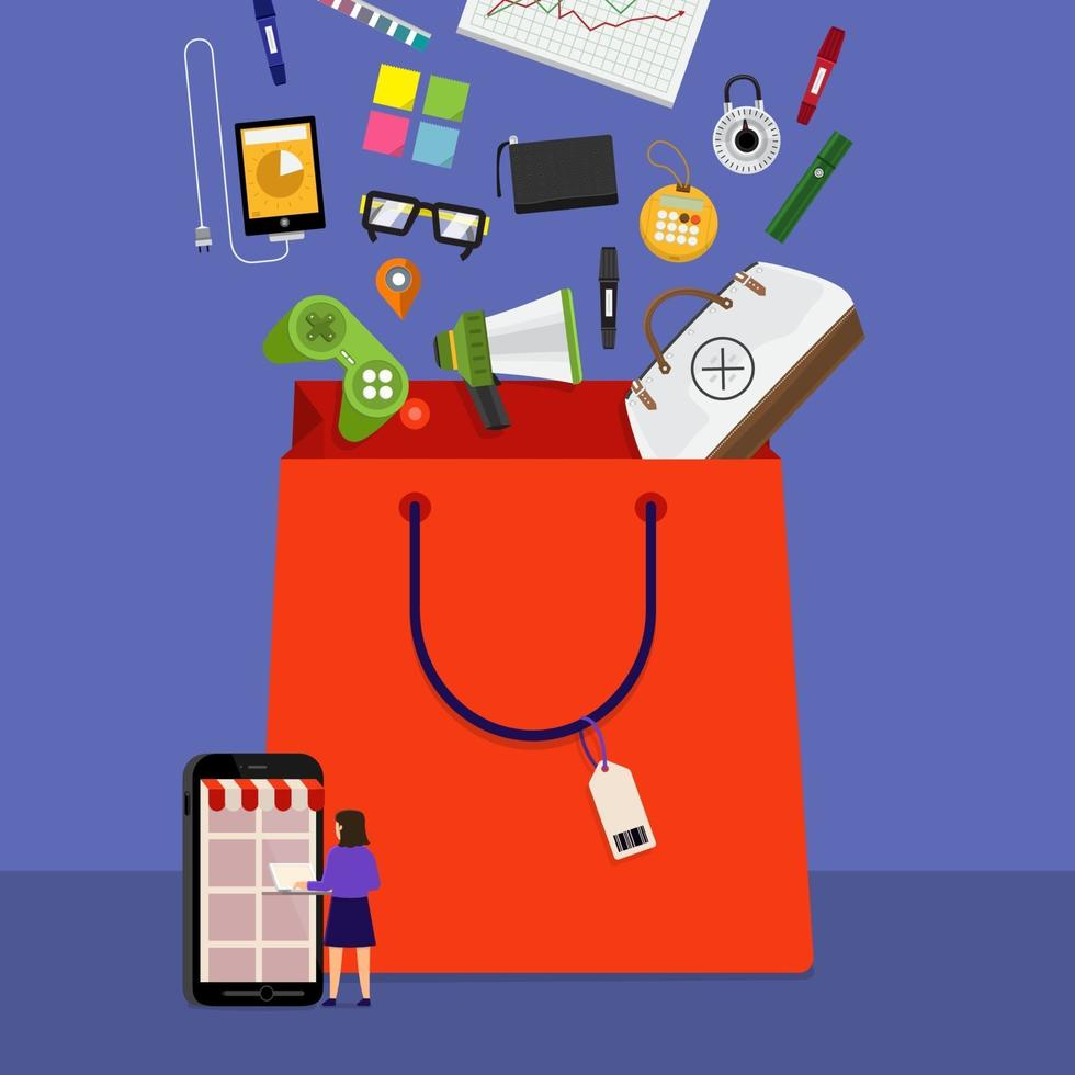 shopping bag in linea vettore