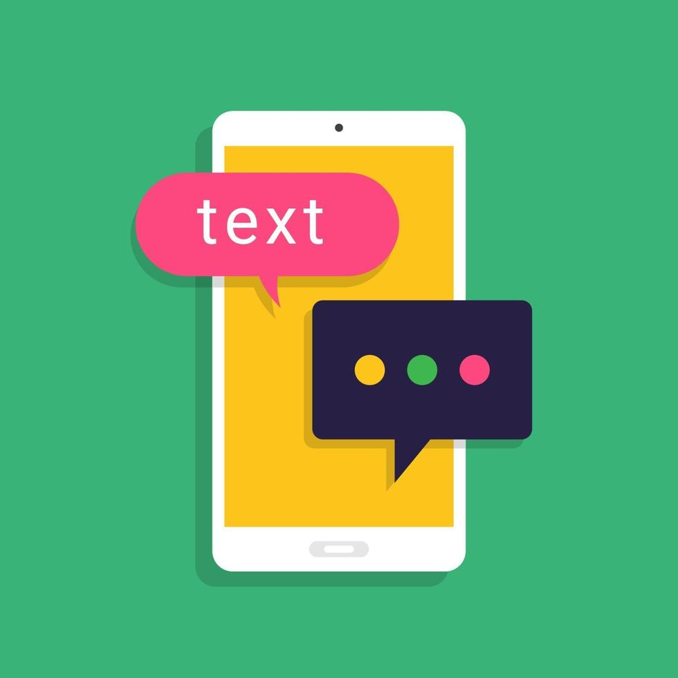 messaggio di concetto di design piatto e chat. presente tramite messaggio di testo icona. vettore illustrano