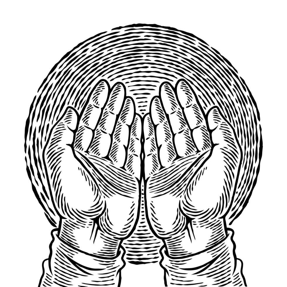 mano umana disegnata a mano in posizione di preghiera. schizzo di arte concettuale di religione. il palmo di una preghiera islamica e un simbolo della fede moschea. illustrazione di vettore di schizzo di gesto di mani semplici.