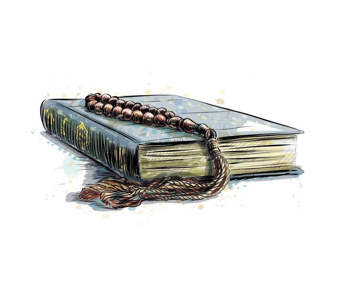 libro sacro del corano con rosario, illustrazione vettoriale schizzo disegnato a mano