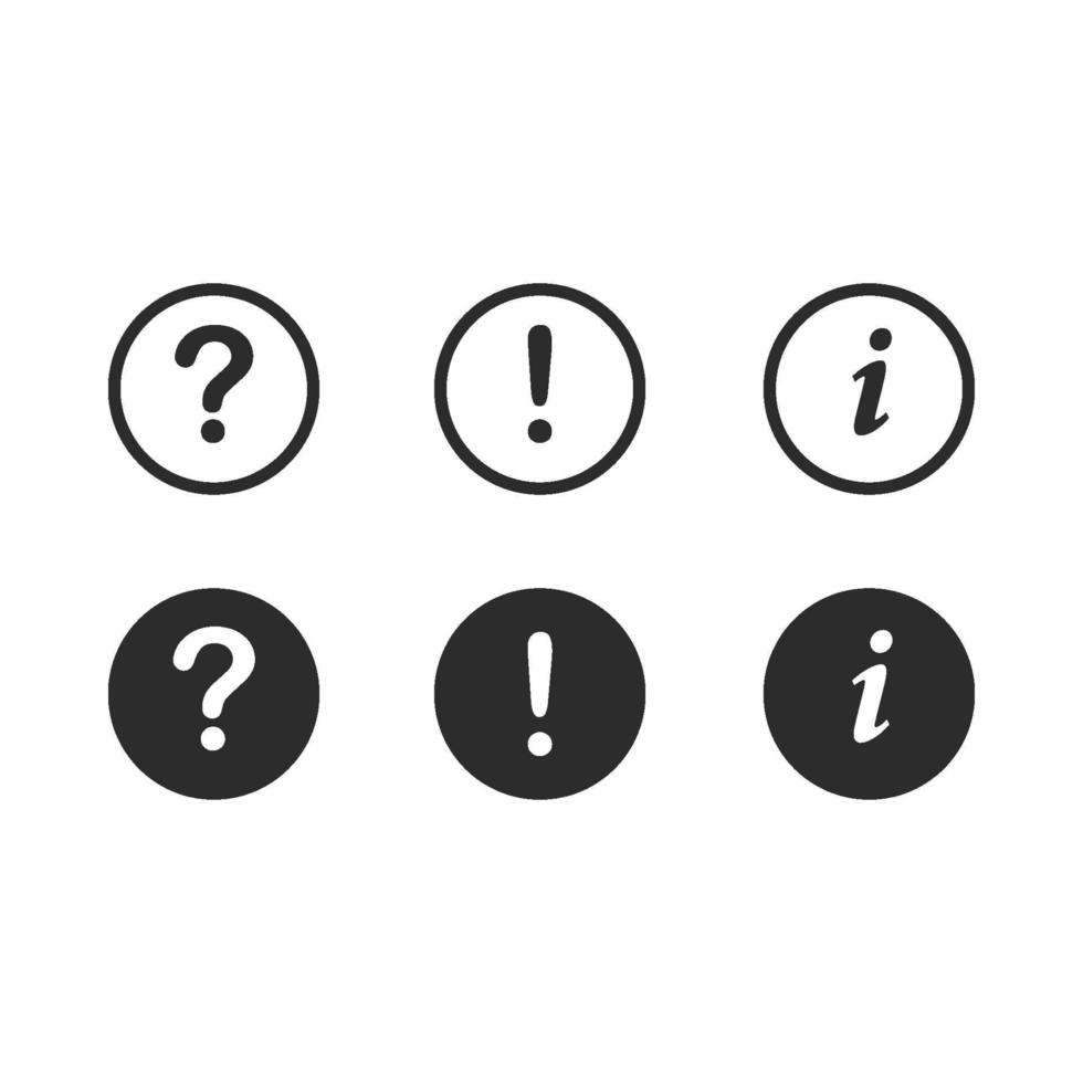 domanda, icone vettoriali di avviso per web e app mobile