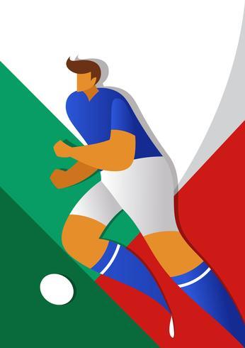 Illustrazione dei giocatori di calcio della coppa del Mondo dell'Italia vettore