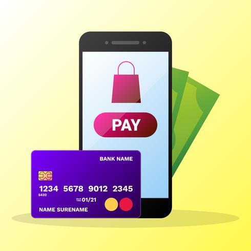 Portafoglio del telefono con carte di credito e denaro illustrazione vettore