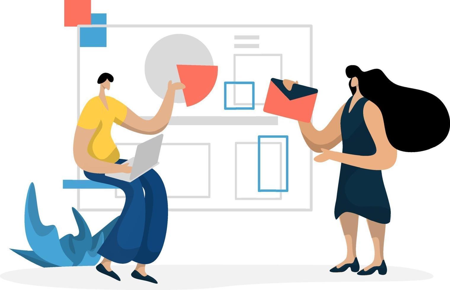 illustrazione piatta amministrazione gestione pianificazione marketing aziendale online, il concetto di un uomo che analizza i dati su un laptop vettore
