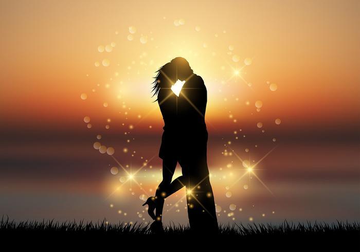 Coppia baciarsi su uno sfondo tramonto vettore
