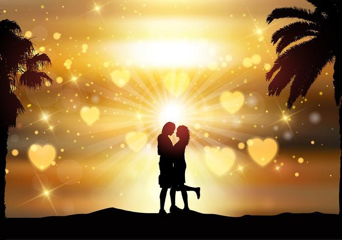 Coppia romantica contro un cielo al tramonto vettore