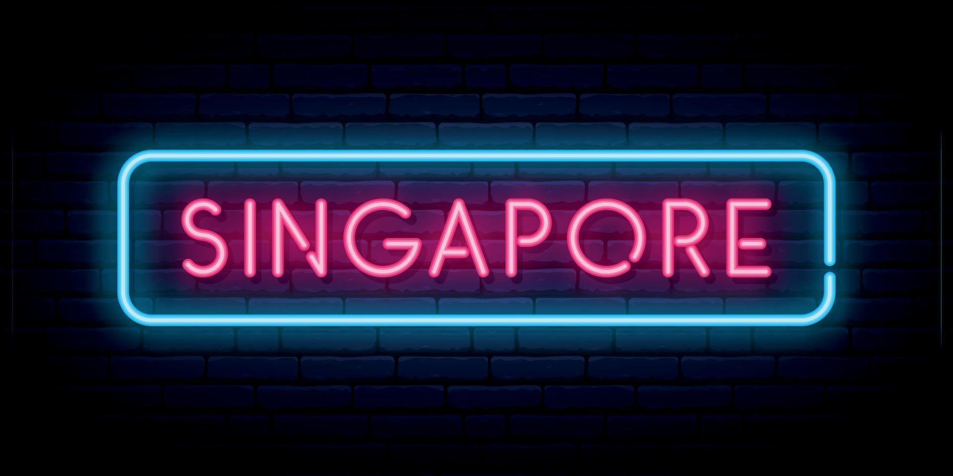 insegna al neon di singapore. cartello luminoso luminoso. vettore