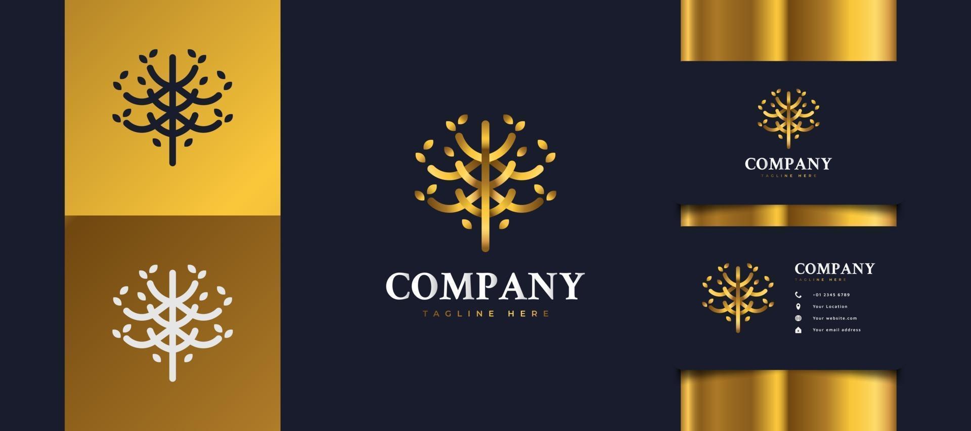 logo di albero d'oro di lusso con fogliame, adatto per loghi di hotel, spa, resort o immobili vettore