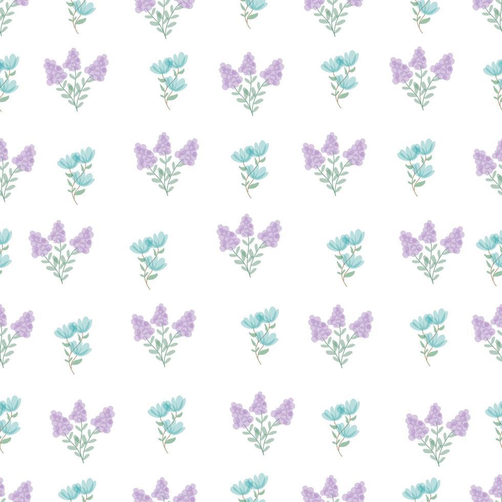 simpatico motivo floreale semplice nel piccolo fiore blu e viola. trama vettoriale senza soluzione di continuità. stampa con piccoli fiori blu. fiori primaverili, fiori estivi.