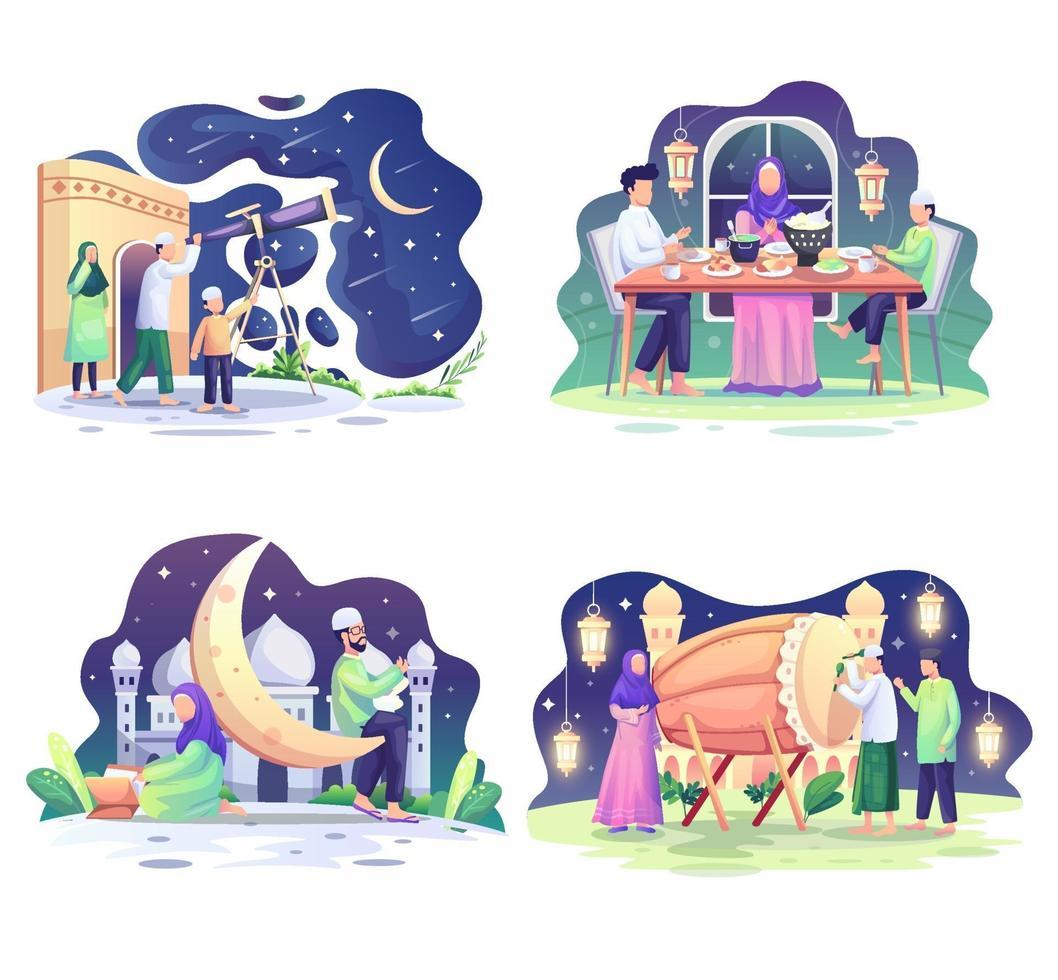 set di illustrazione del concetto di ramadhan. i musulmani felici celebrano il mese sacro del ramadhan, il saluto di eid mubarak. illustrazione vettoriale