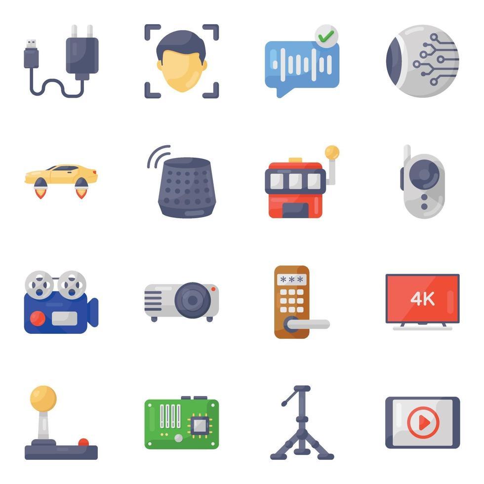 set di icone di dispositivi elettronici e tecnologici vettore