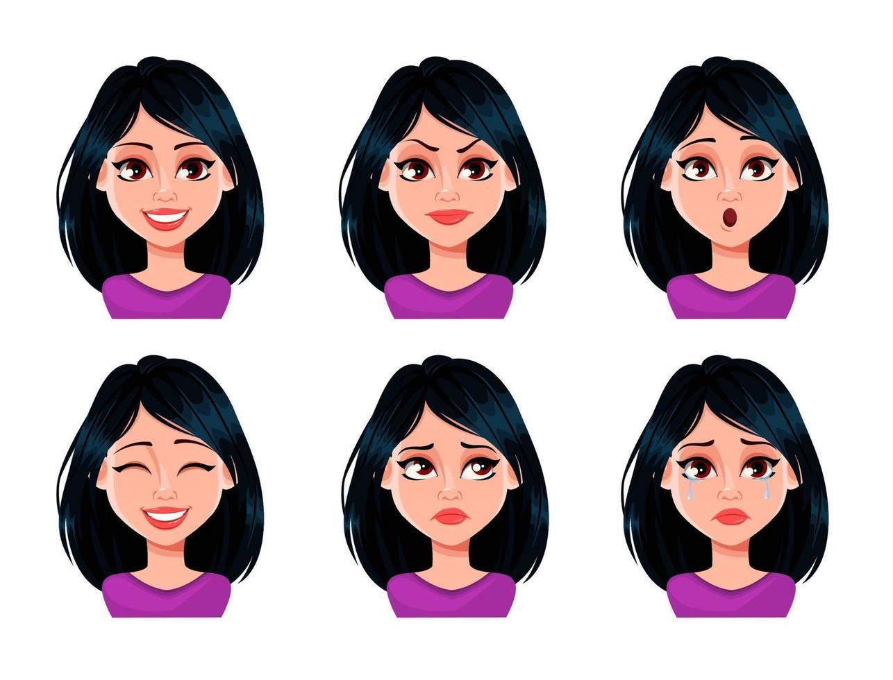 espressioni del viso di donna con i capelli scuri vettore