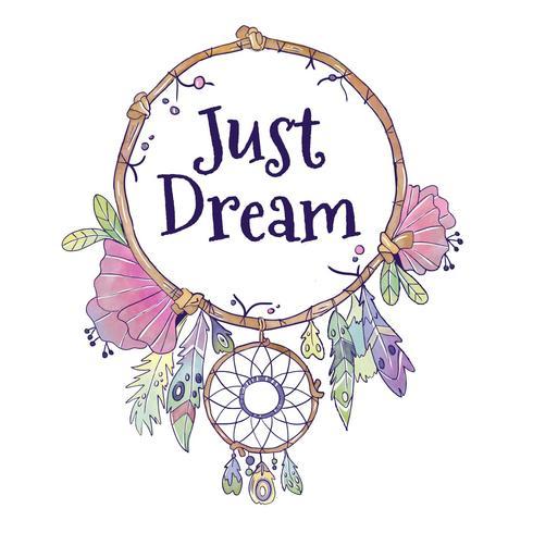 Carino Boho Dream Catcher con citazione vettore