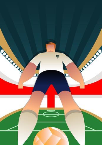 Posa del giocatore di calcio della coppa del mondo dell'Inghilterra vettore