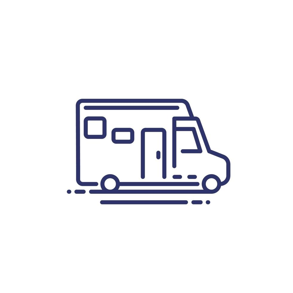 camper, icona della linea di furgone da campeggio vettore