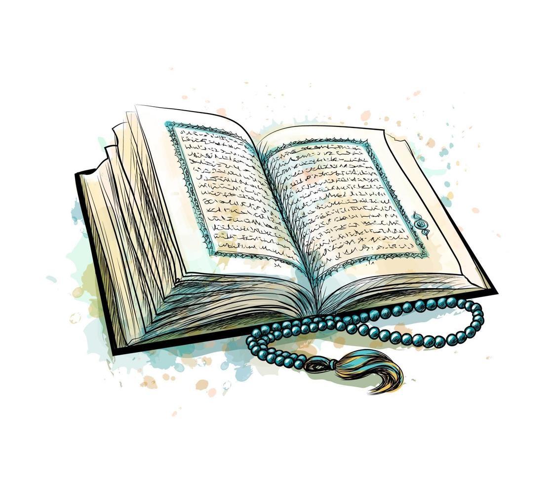 libro sacro del corano con rosario da spruzzi di acquerelli. festa musulmana, eid mubarak, eid al-fitr, ramadan kareem. schizzo disegnato a mano. illustrazione vettoriale di vernici
