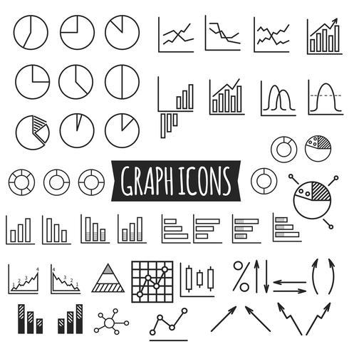 Grafici di affari Set di icone del grafico linea sottile. Schema. Può essere utilizzato come elementi in infografica, come icone web e mobile, ecc. Facile da ricolorare e ridimensionare. vettore