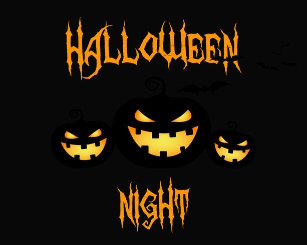 Felice notte di Halloween party card. zucca di Halloween, design scuro. Sfondo, poster e banner. Design piatto per la celebrazione di Halloween. Vettore