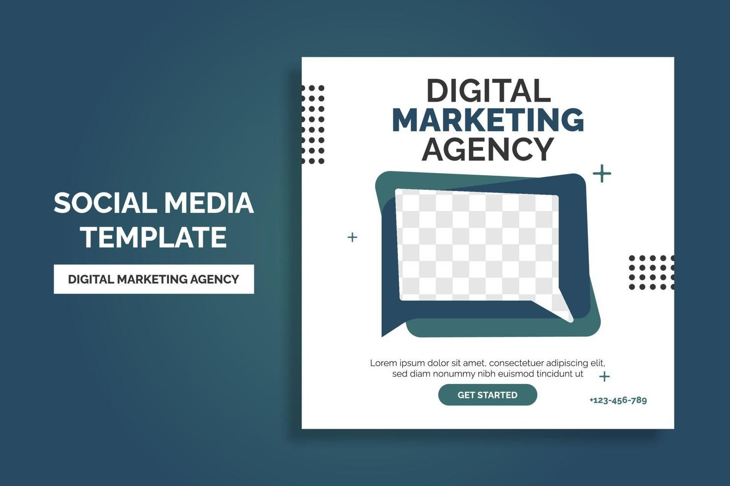 progettazione del modello di post dei social media dell'agenzia di marketing di affari digitali creativi. promozione banner. pubblicità aziendale vettore