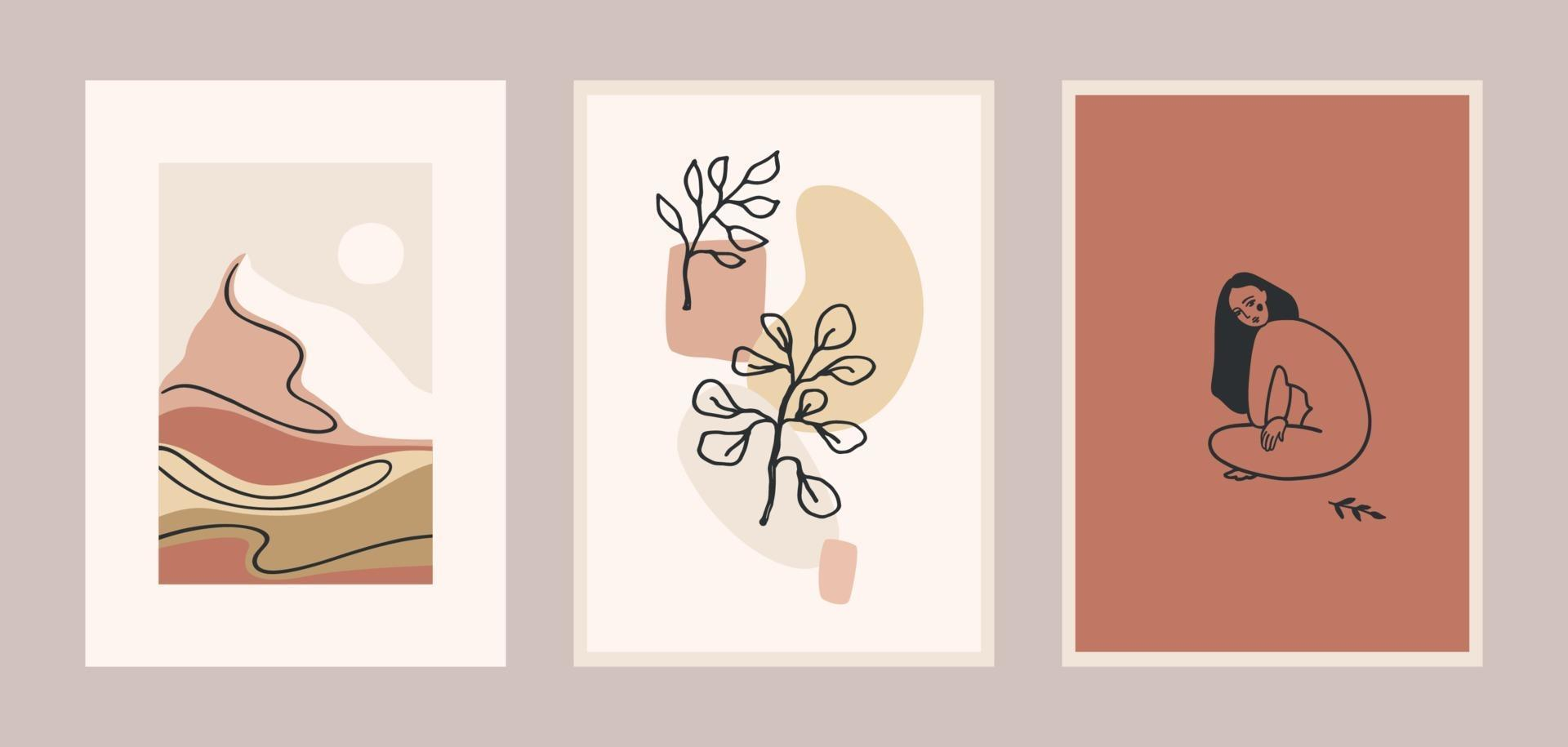 set di stampe d'arte contemporanea. Linea artistica. moderno design vettoriale per poster, cartoline, imballaggi e altro ancora