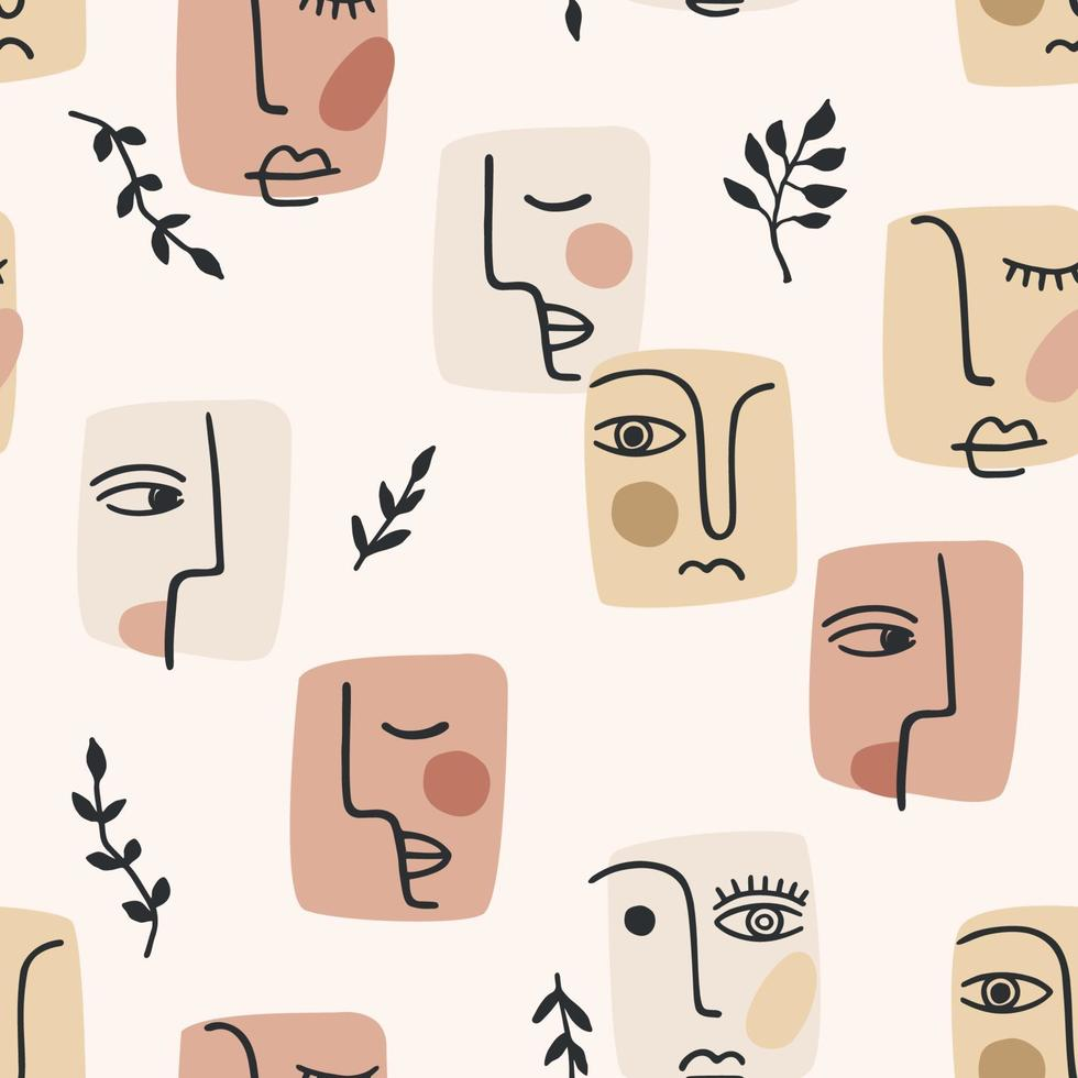 ritratto contemporaneo. Vector seamless pattern con trandy pittura astratta del viso. design moderno