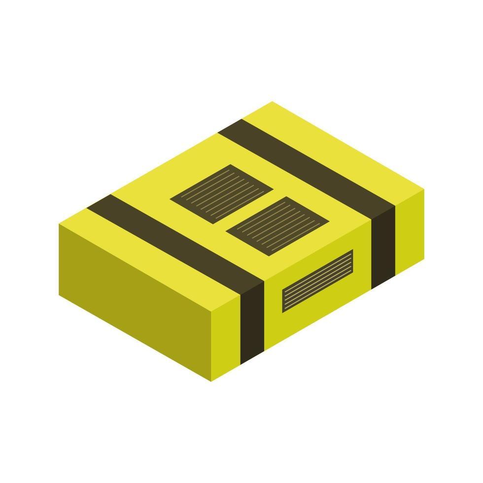 icona del pacco isometrica sullo sfondo vettore