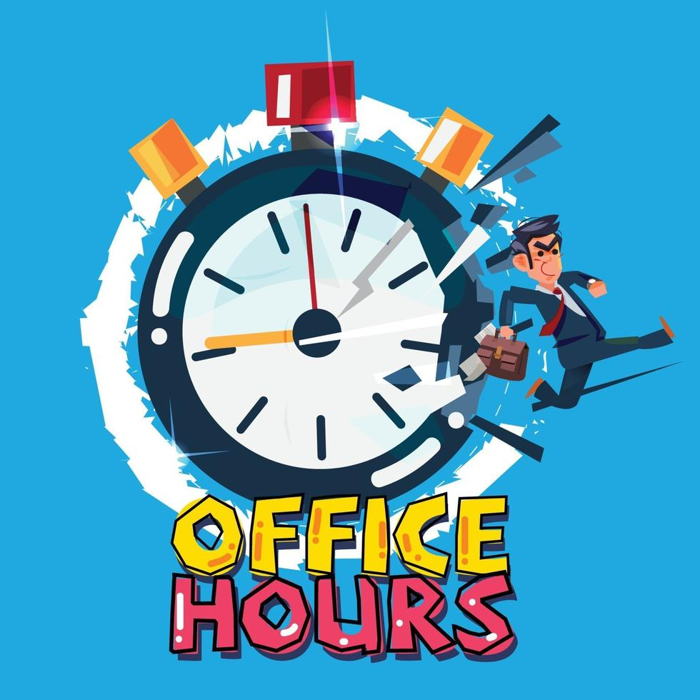 uomo d'affari corre dal cronometro. concetto di orario d'ufficio. - illustrazione vettoriale