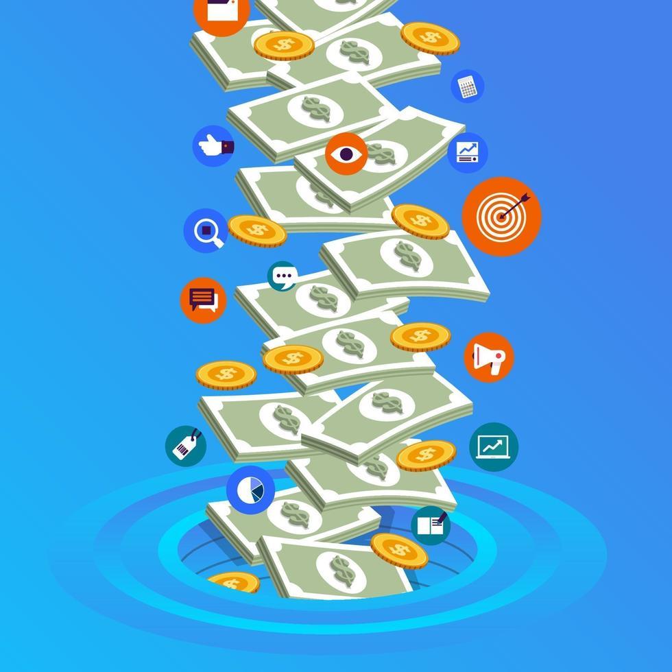 illustrazione concetto di denaro vettore