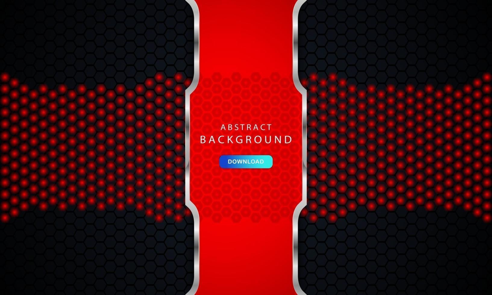 sfondo esagonale nero scuro con decorazioni a liste rosse e argento vettore