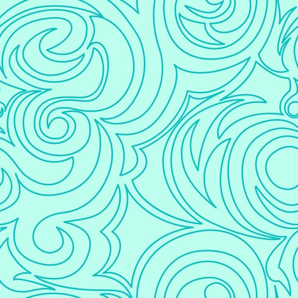 trama turchese senza soluzione di continuità di spirali e riccioli in uno stile lineare. vettore