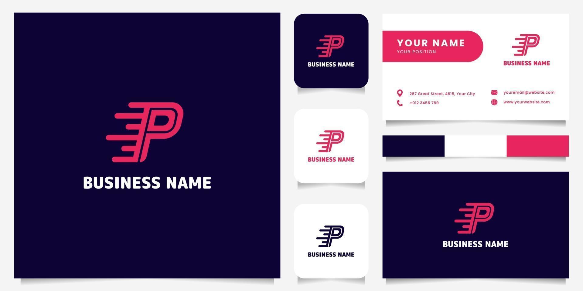 logo di velocità lettera p rosa brillante semplice e minimalista nel logo di sfondo scuro con modello di biglietto da visita vettore