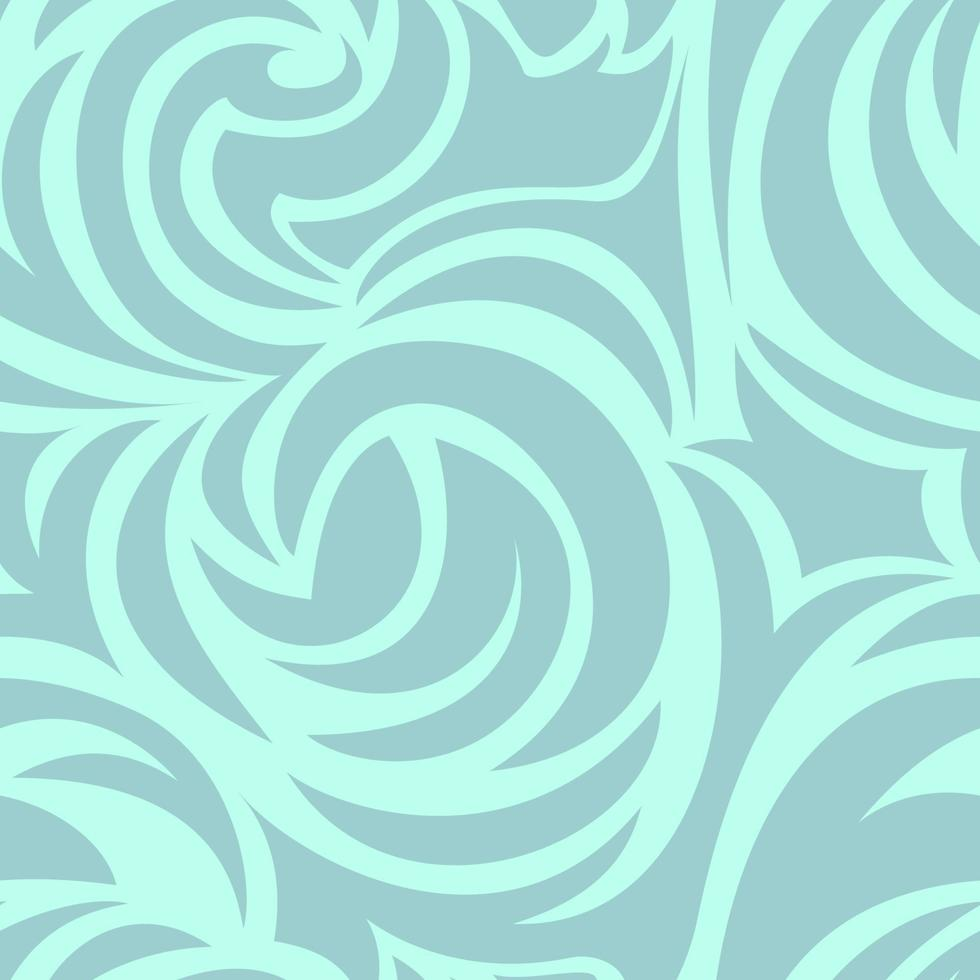 seamless turchese texture di spirali e riccioli. pattern di mare in colori pastello. vettore
