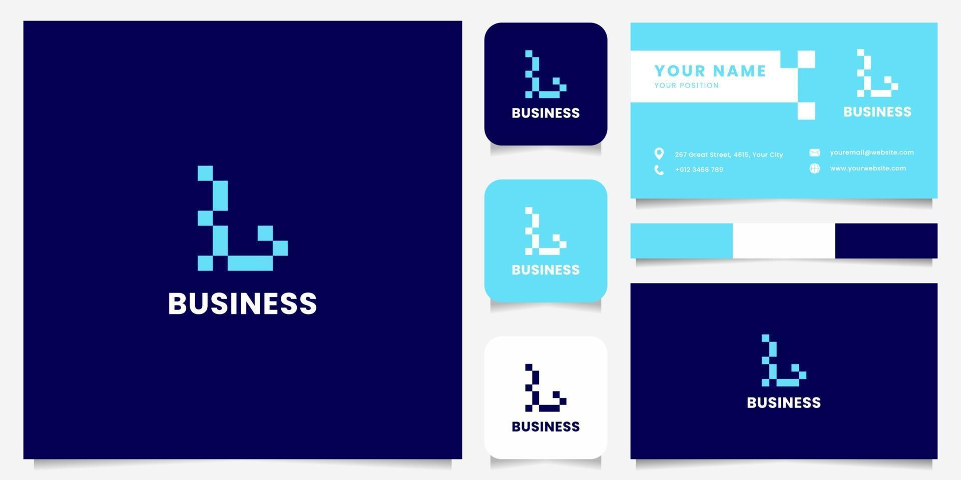 logo della lettera l di pixel blu semplice e minimalista con modello di biglietto da visita vettore
