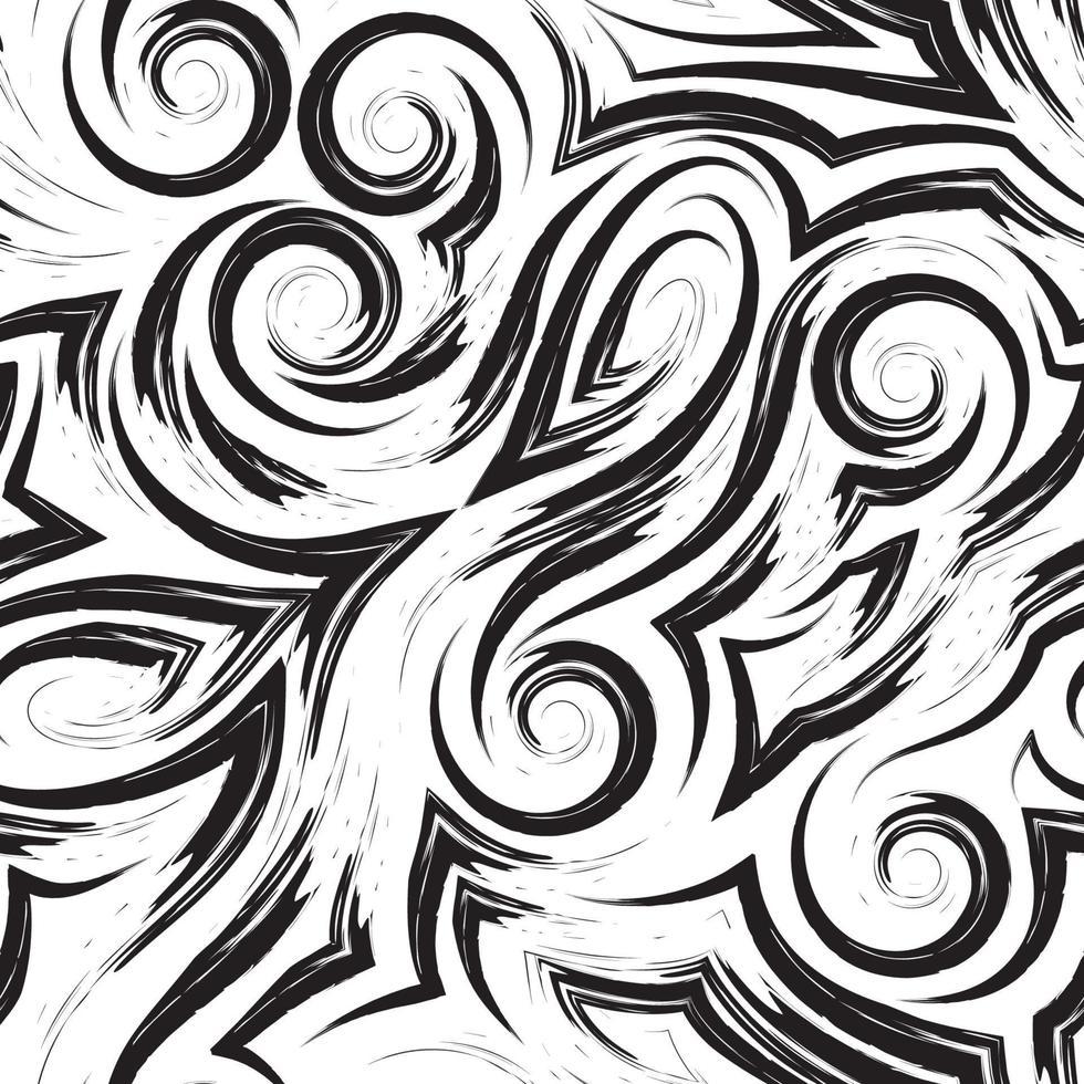 Vector nero seamless pattern di onde o ricciolo disegnato con un pennello per arredamento isolato su uno sfondo bianco.