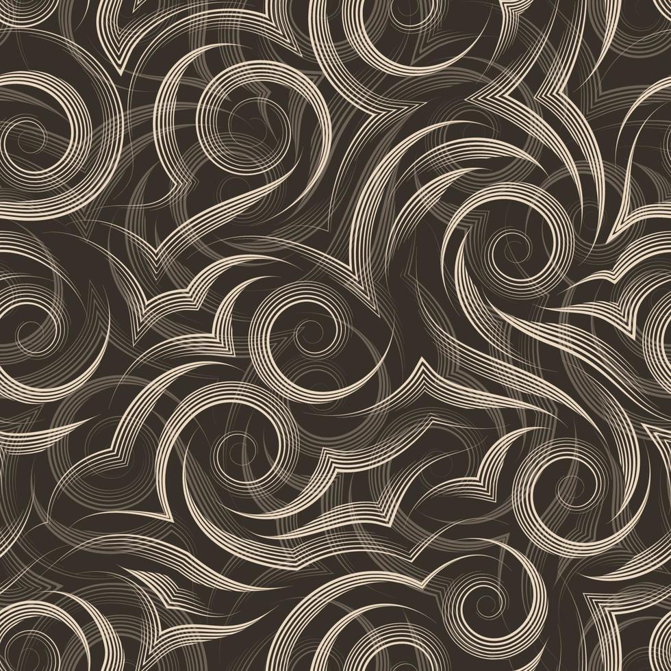 Modello di vettore senza soluzione di continuità di linee morbide disegnate dalla penna beige sotto forma di spirali e riccioli isolati su sfondo scuro.