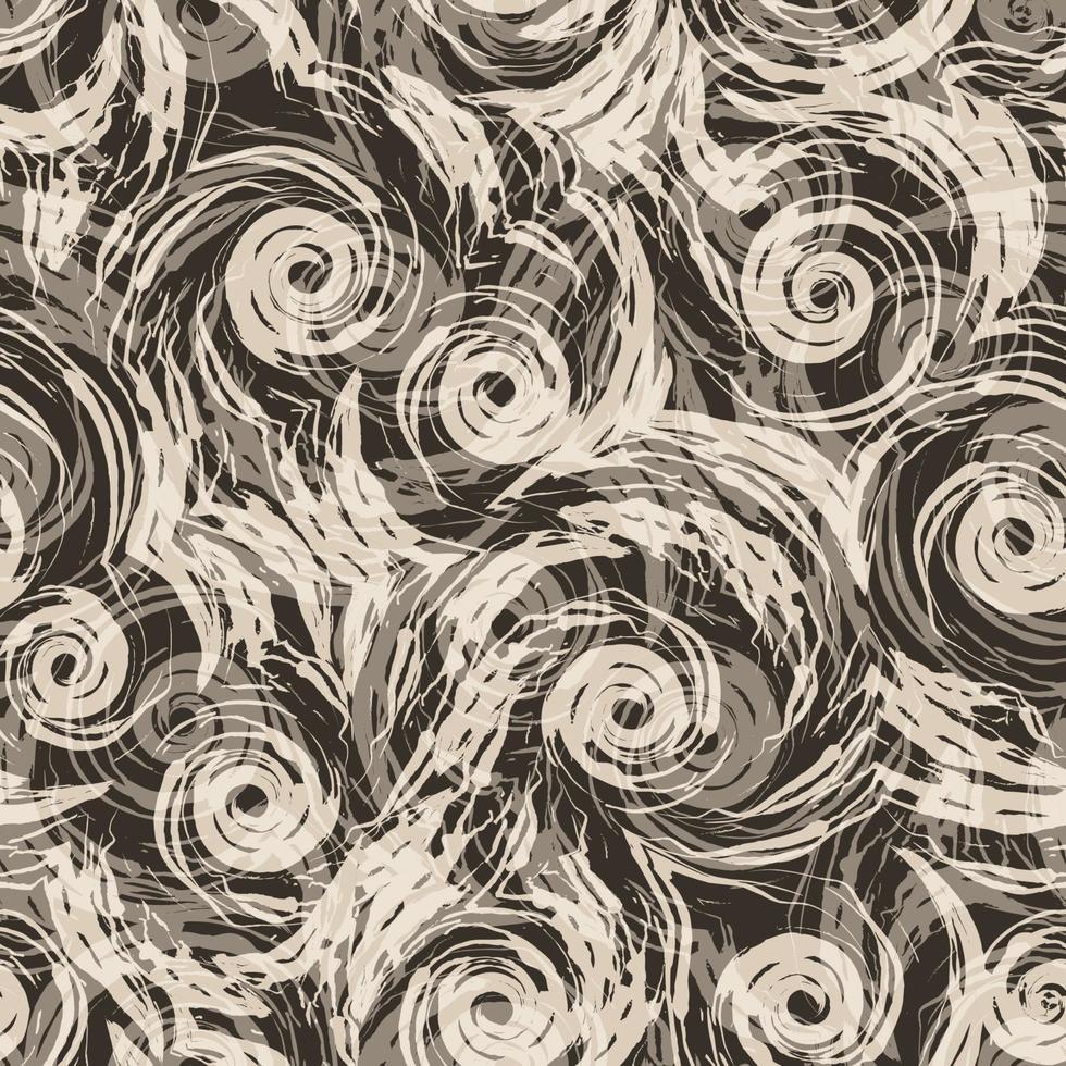 modello vettoriale senza soluzione di continuità di spirali beige e forme astratte su sfondo scuro.