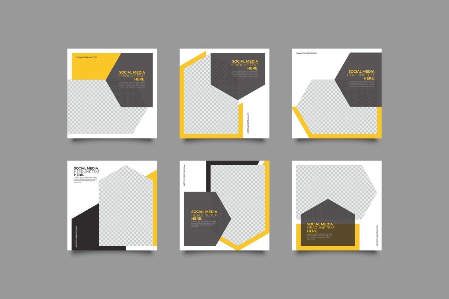 elegante pacchetto di modelli di post instagram geometrici di affari vettore