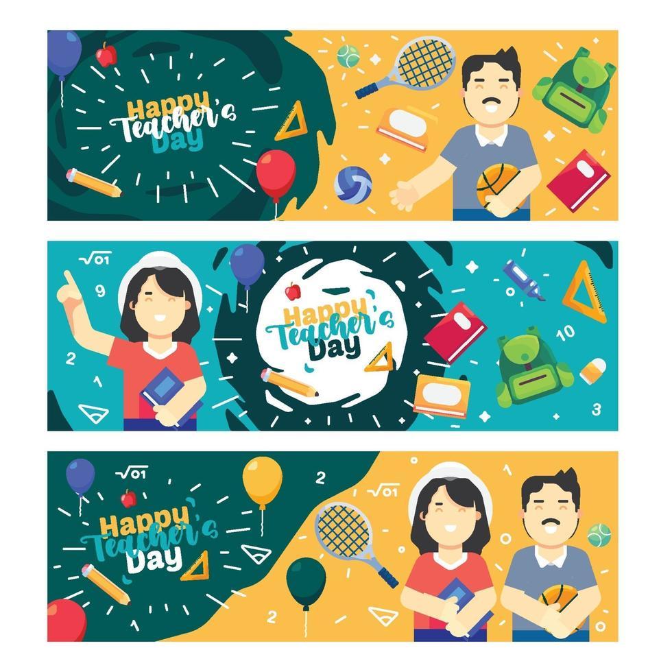 raccolta di banner del giorno dell'insegnante felice vettore