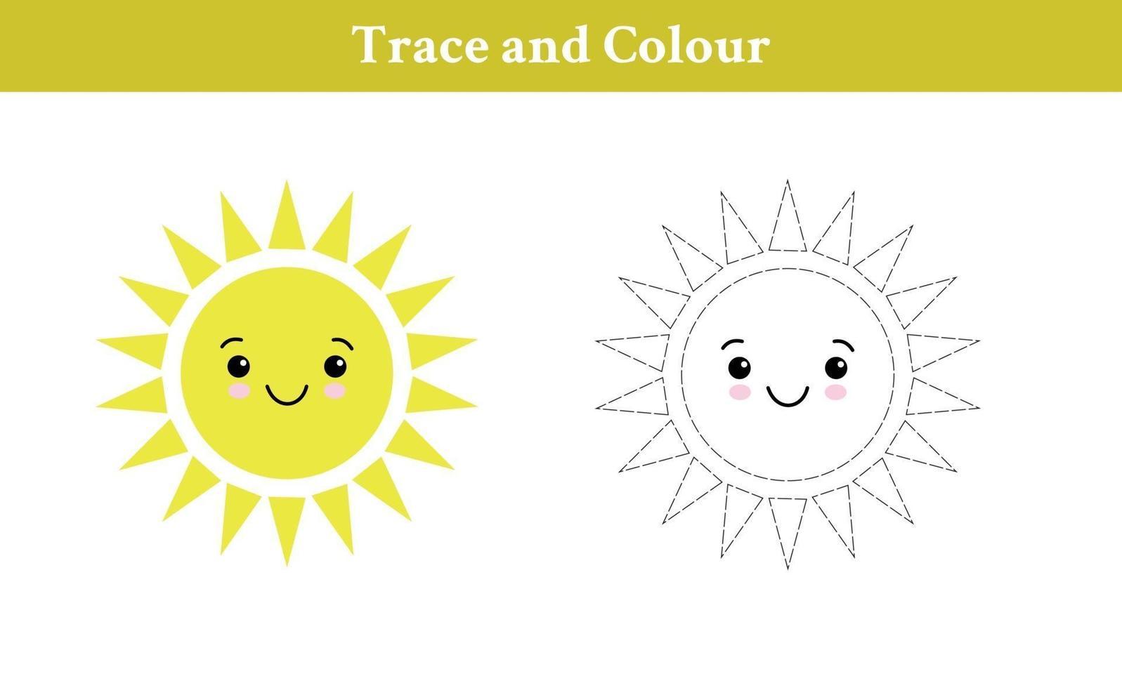 traccia e colora il sole vettore