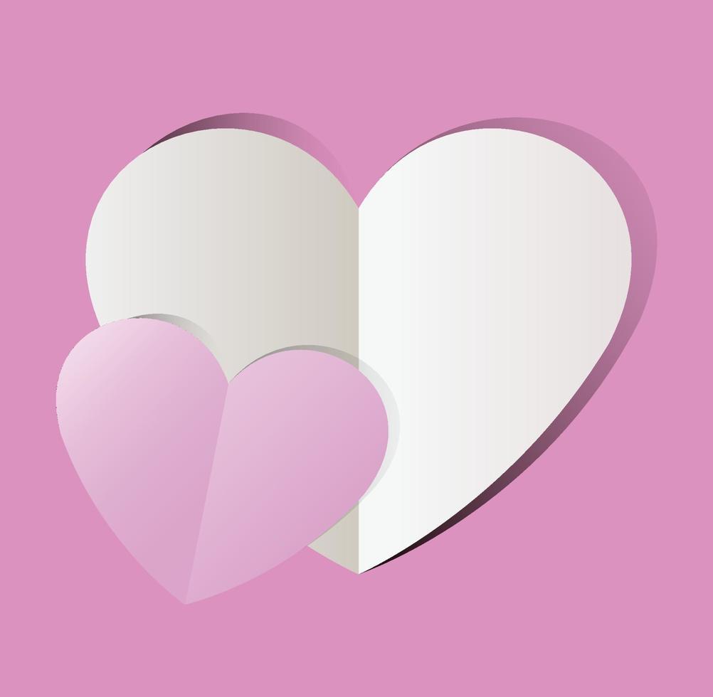 carta rosa tagliata cuore amore, san valentino. illustrazione vettoriale vacanza.