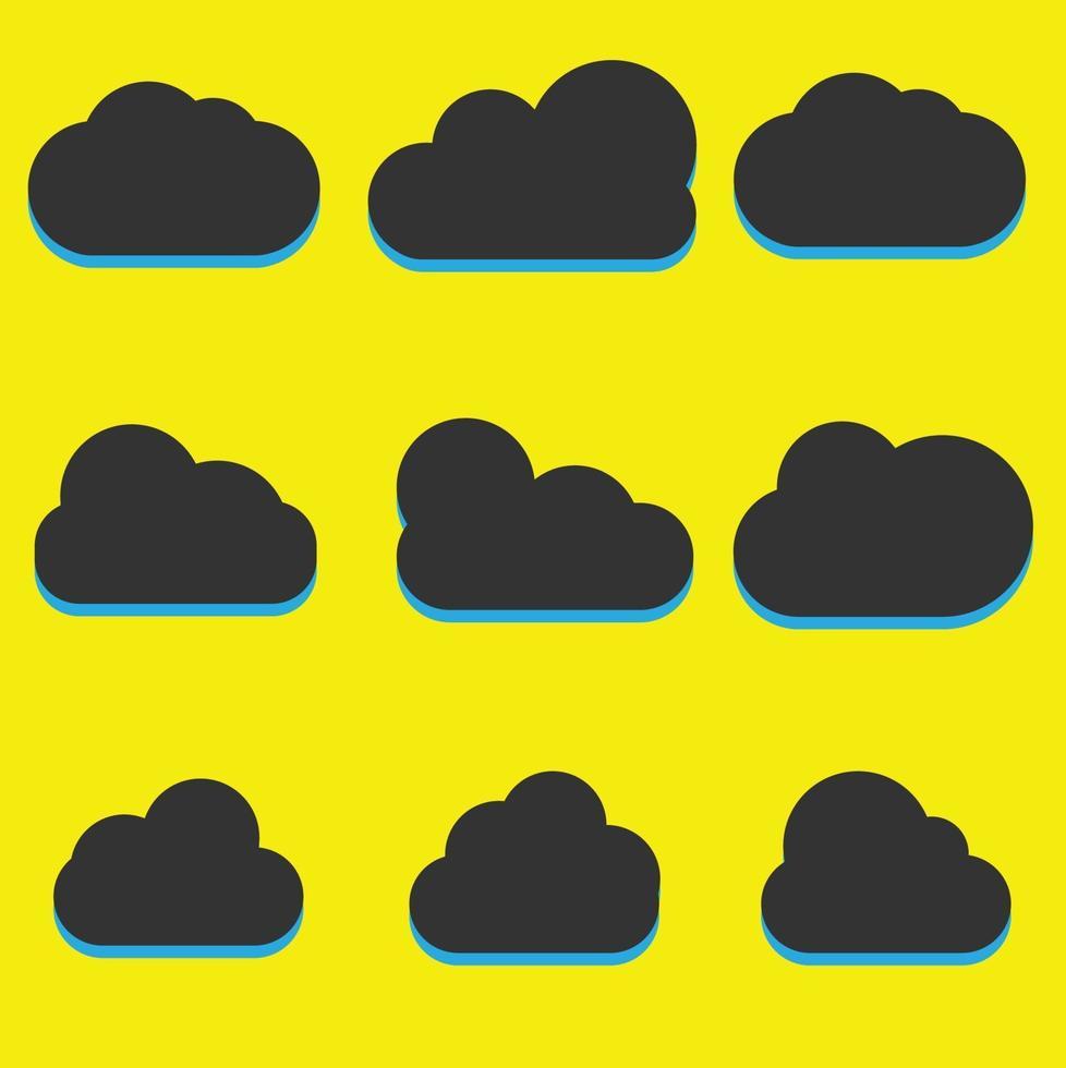 un set di icone nuvola nera in un tema piatto alla moda isolato su sfondo giallo. simboli cloud per la progettazione del tuo sito web. vettore