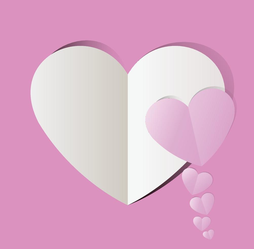 cuore tagliato di carta rosa, san valentino. illustrazione vettoriale vacanza.