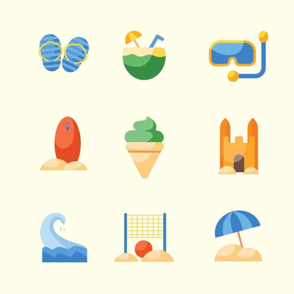 set di icone di estate vettore
