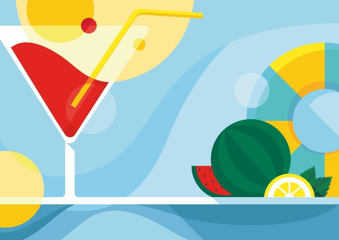 modello di banner con cocktail e frutta. vettore