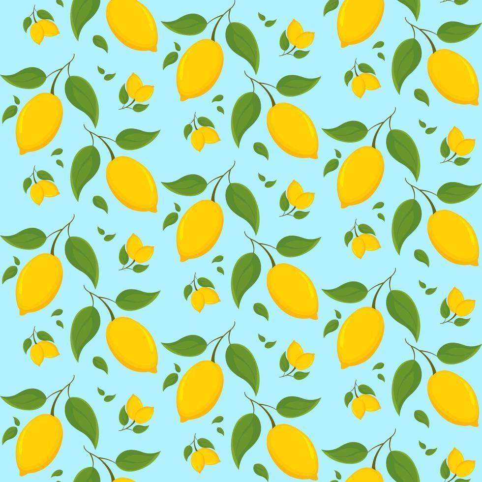 seamless con limoni sul ramo. vettore